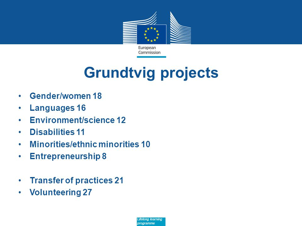Date: in 12 pts Lifelong learning programme Grundtvig projects Gender/women 18 Languages 16 Environment/science 12 Disabilities 11 Minorities/ethnic minorities 10 Entrepreneurship 8 Transfer of practices 21 Volunteering 27