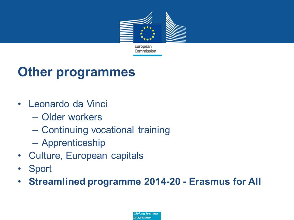 Date: in 12 pts Lifelong learning programme Other programmes Leonardo da Vinci –Older workers –Continuing vocational training –Apprenticeship Culture, European capitals Sport Streamlined programme Erasmus for All