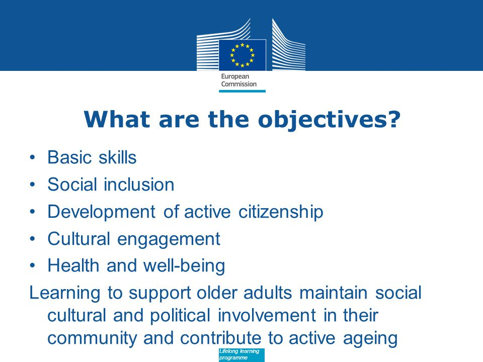 Date: in 12 pts Lifelong learning programme What are the objectives.