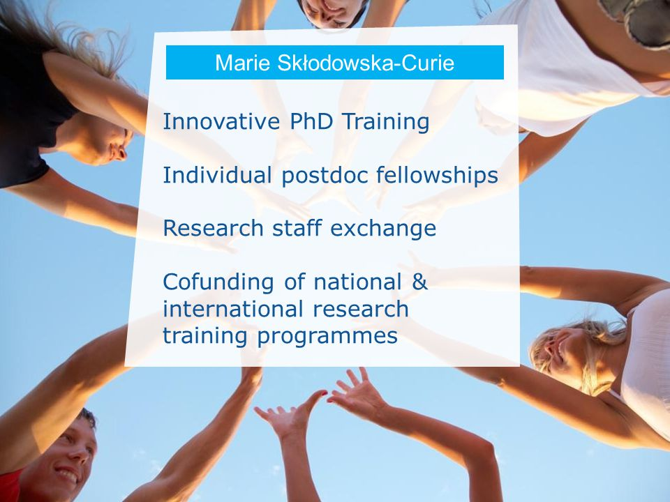 Date: in 12 pts Innovative PhD Training Individual postdoc fellowships Research staff exchange Cofunding of national & international research training programmes Marie Skłodowska-Curie