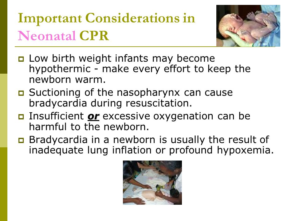 Important Considerations in Neonatal CPR  Low birth weight infants may become hypothermic - make every effort to keep the newborn warm.