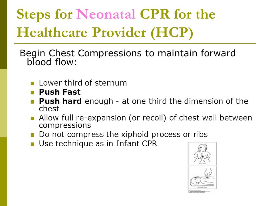 Steps for Neonatal CPR for the Healthcare Provider (HCP) Begin Chest Compressions to maintain forward blood flow: Lower third of sternum Push Fast Push hard enough - at one third the dimension of the chest Allow full re-expansion (or recoil) of chest wall between compressions Do not compress the xiphoid process or ribs Use technique as in Infant CPR