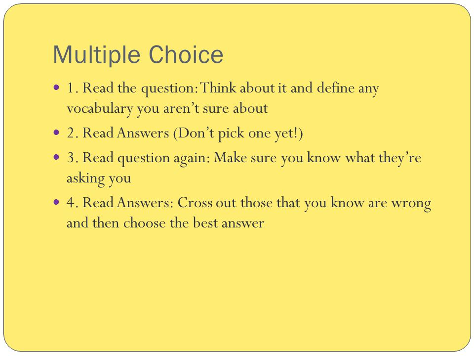 Multiple Choice 1.