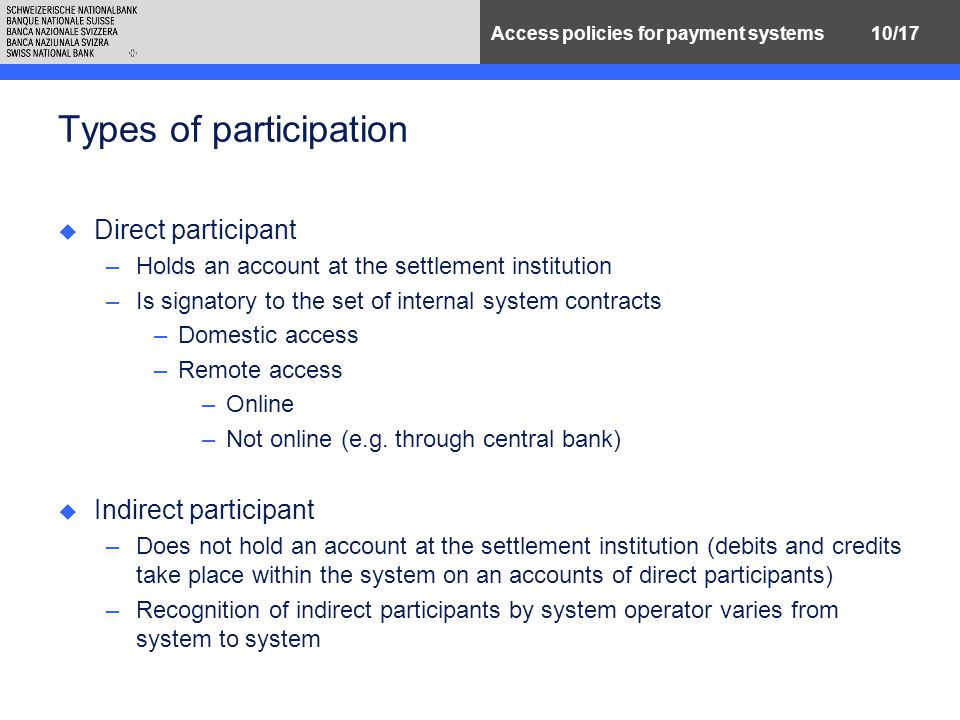 10/17Access policies for payment systems Types of participation u Direct participant –Holds an account at the settlement institution –Is signatory to the set of internal system contracts –Domestic access –Remote access –Online –Not online (e.g.