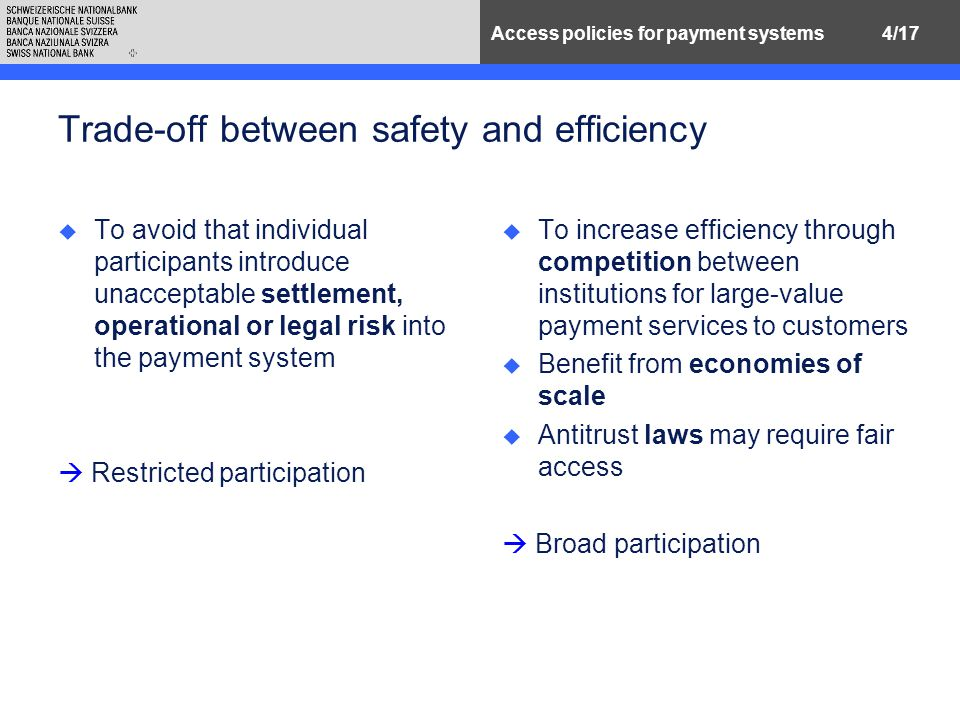 4/17Access policies for payment systems Trade-off between safety and efficiency u To avoid that individual participants introduce unacceptable settlement, operational or legal risk into the payment system  Restricted participation u To increase efficiency through competition between institutions for large-value payment services to customers u Benefit from economies of scale u Antitrust laws may require fair access  Broad participation