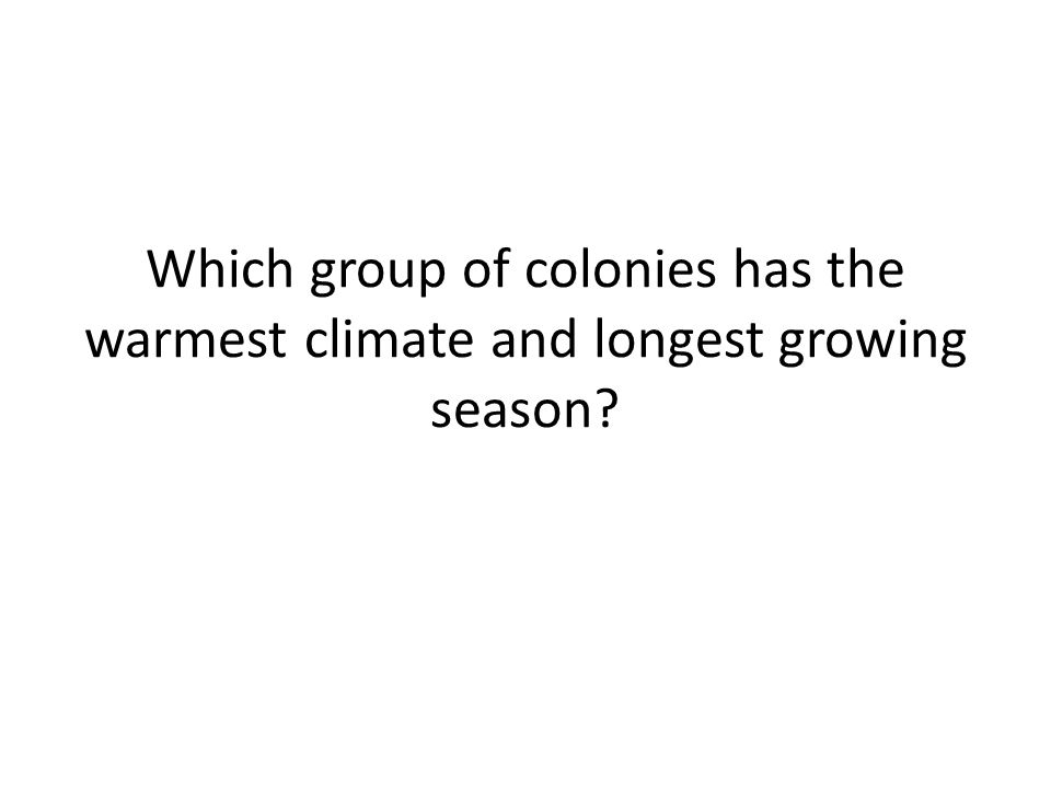 Which group of colonies has the warmest climate and longest growing season