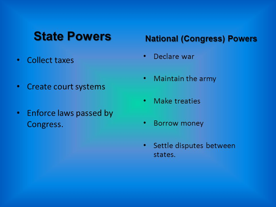 State Powers Collect taxes Create court systems Enforce laws passed by Congress.