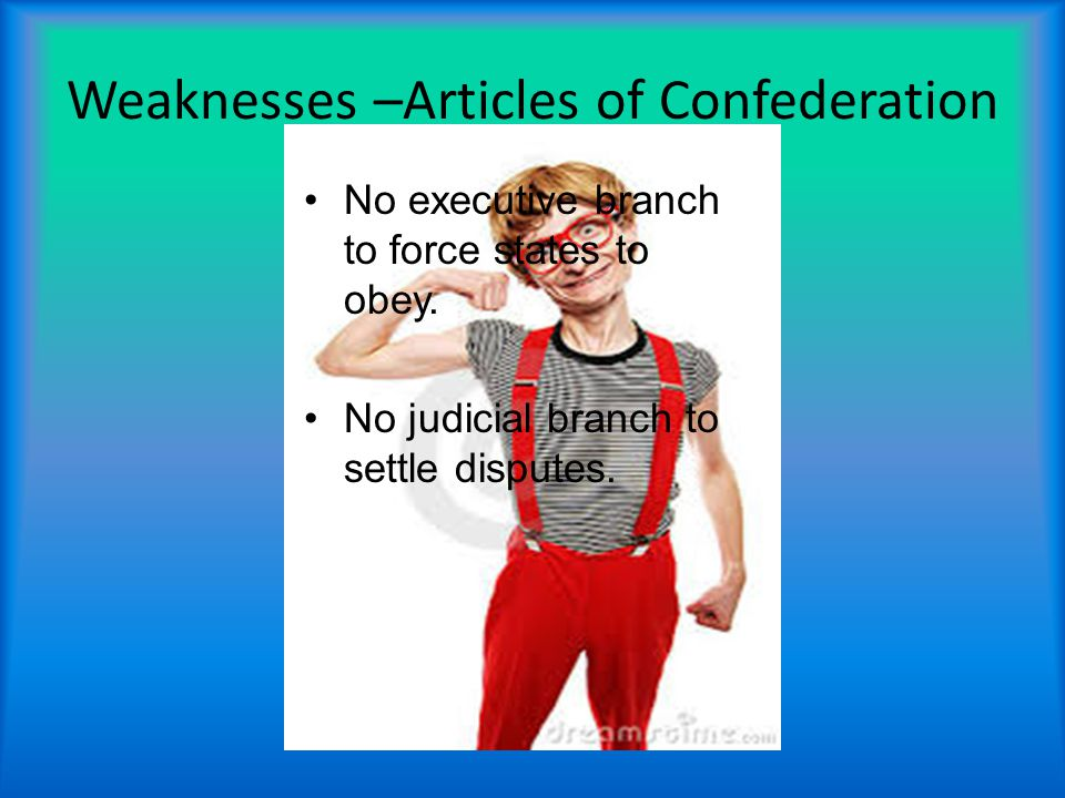 Weaknesses –Articles of Confederation No executive branch to force states to obey.