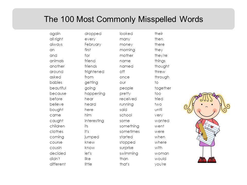 6 The 100 Most Commonly Misspelled Words Againdropped