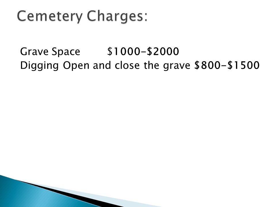 Grave Space $1000-$2000 Digging Open and close the grave $800-$1500