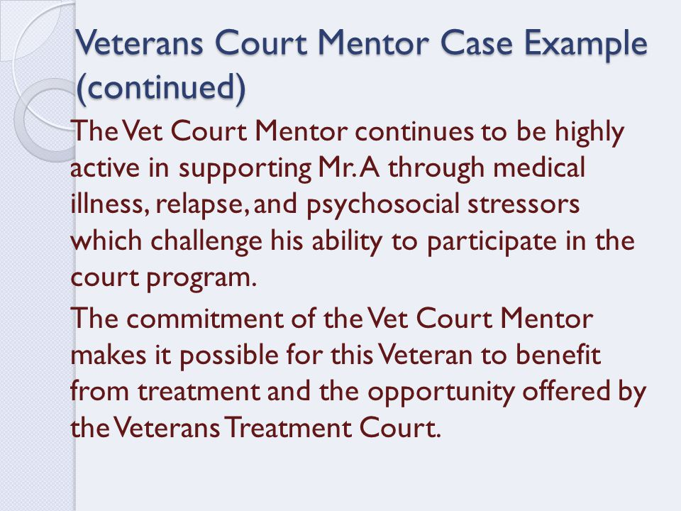 Veterans Court Mentor Case Example (continued) The Vet Court Mentor continues to be highly active in supporting Mr.