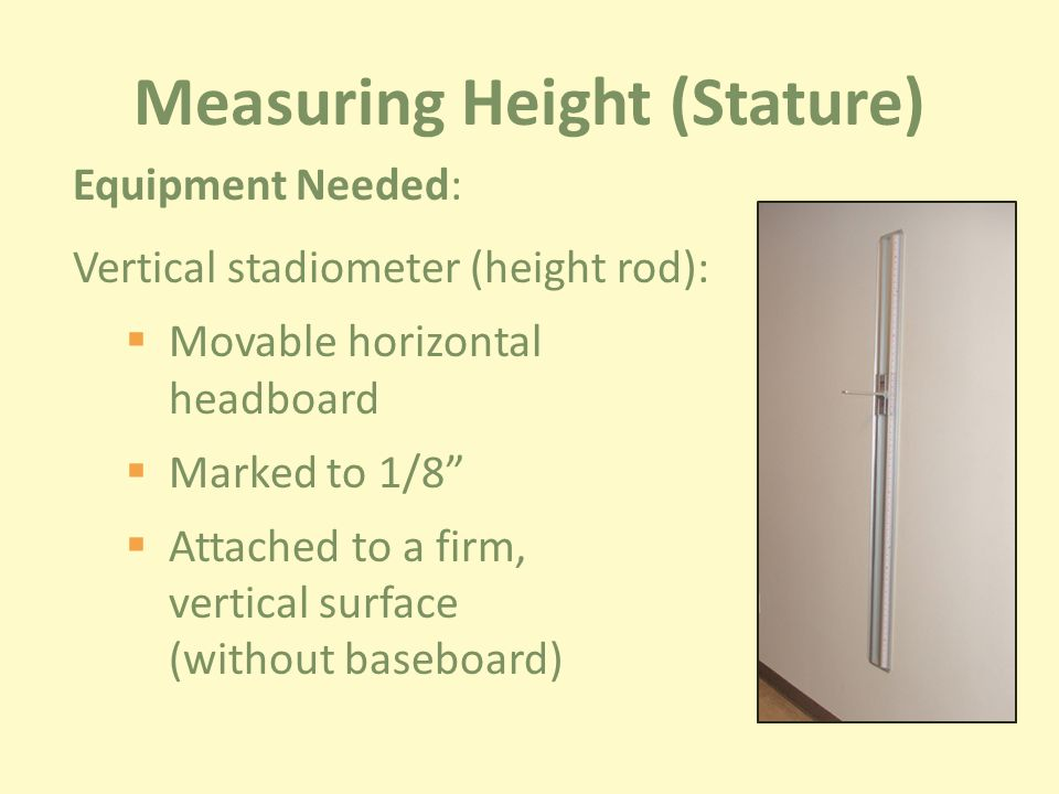 Measuring Height (Stature) Equipment Needed: Vertical stadiometer (height rod):  Movable horizontal headboard  Marked to 1/8  Attached to a firm, vertical surface (without baseboard)