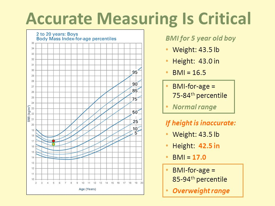 BMI for 5 year old boy Weight: 43.5 lb Height: 43.0 in BMI = 16.5 BMI-for-age = th percentile Normal range If height is inaccurate: Weight: 43.5 lb Height: 42.5 in BMI = 17.0 BMI-for-age = th percentile Overweight range Accurate Measuring Is Critical