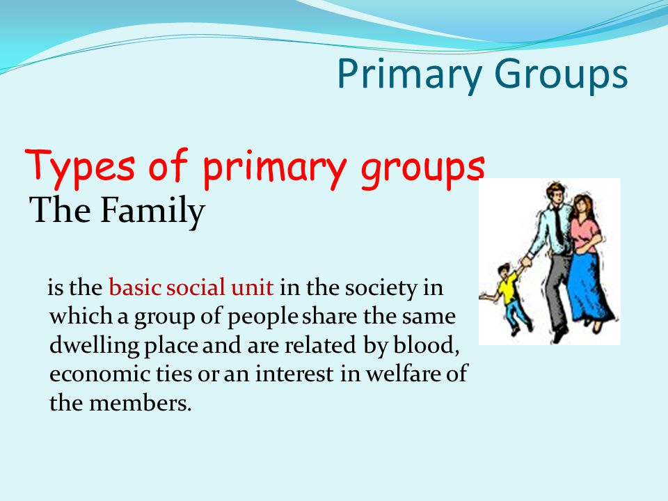 Types of primary groups The Family The Peer Group Primary Groups