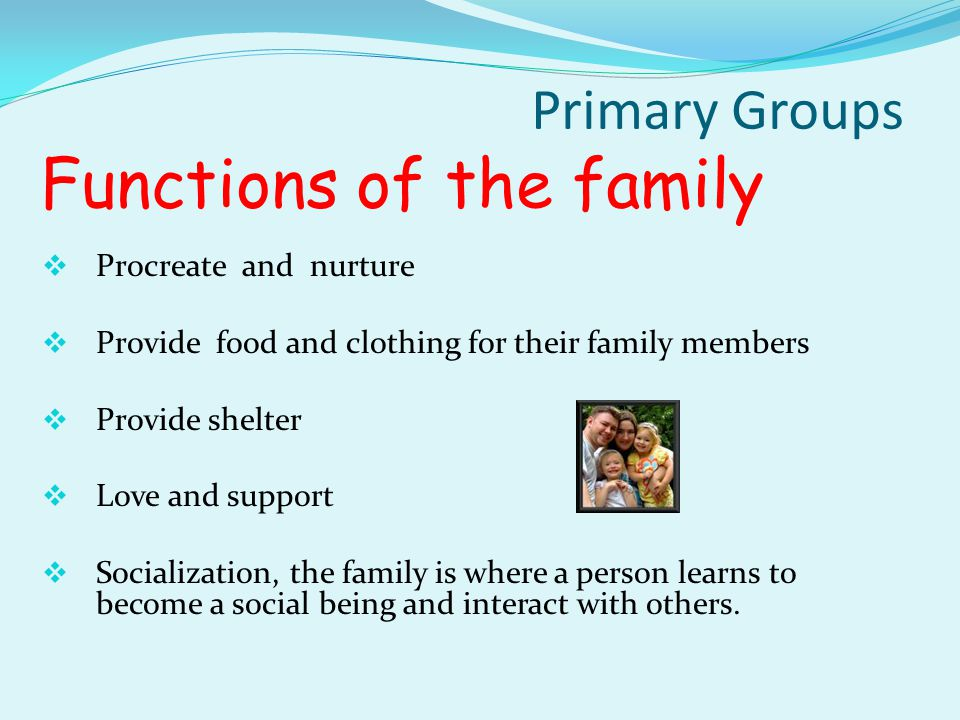 Types of primary groups The Family is the basic social unit in the society in which a group of people share the same dwelling place and are related by blood, economic ties or an interest in welfare of the members.