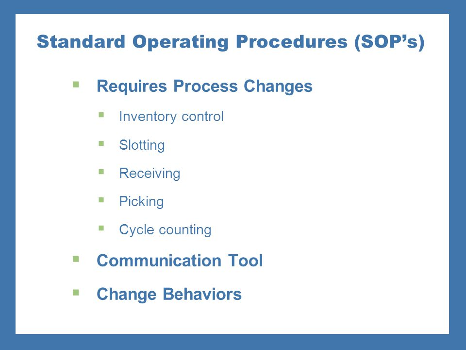 Inventory Management Standard Operating Procedures