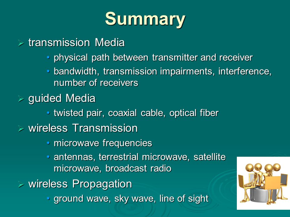 Summary ttttransmission Media physical path between transmitter and receiver bandwidth, transmission impairments, interference, number of receivers gggguided Media twisted pair, coaxial cable, optical fiber wwwwireless Transmission microwave frequencies antennas, terrestrial microwave, satellite microwave, broadcast radio wwwwireless Propagation ground wave, sky wave, line of sight