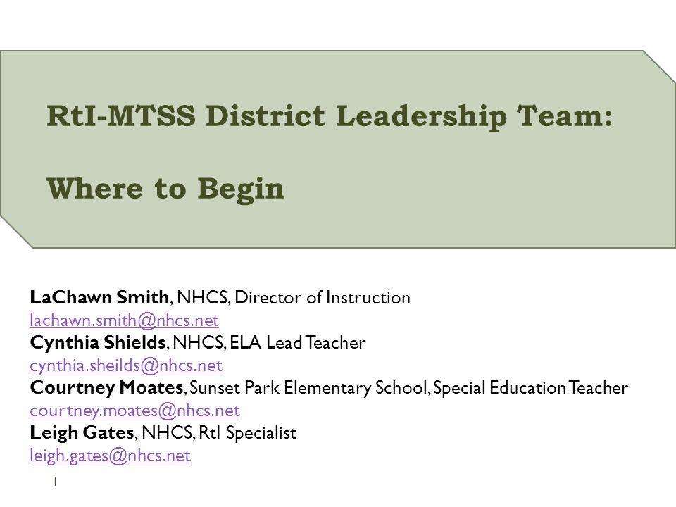 Rti Mtss District Leadership Team Where To Begin Lachawn Smith