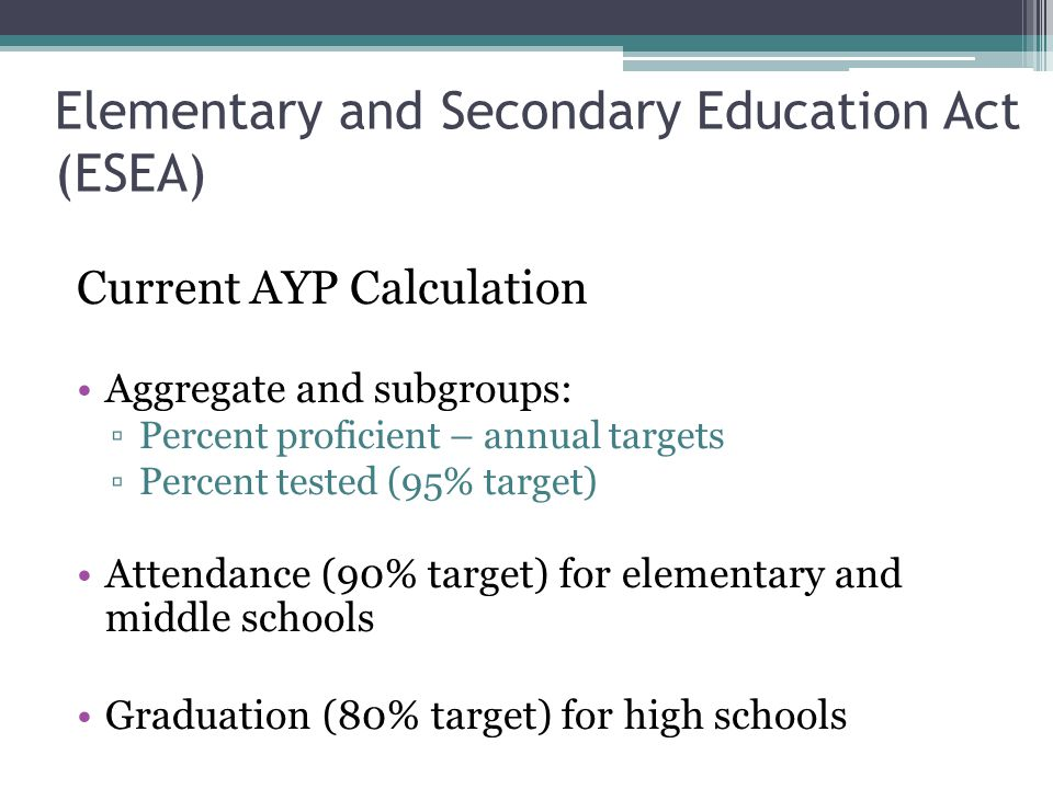 Elementary and Secondary Education Act (ESEA) Current AYP Calculation Aggregate and subgroups: ▫Percent proficient – annual targets ▫Percent tested (95% target) Attendance (90% target) for elementary and middle schools Graduation (80% target) for high schools