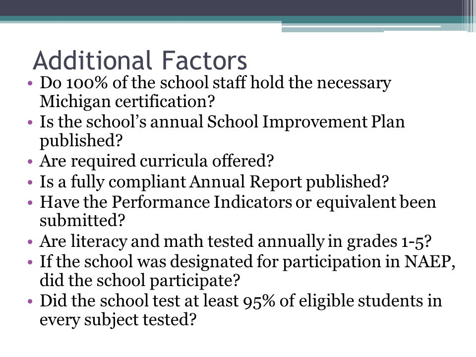 Additional Factors Do 100% of the school staff hold the necessary Michigan certification.