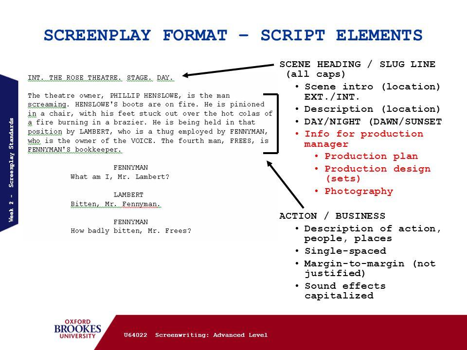 u64022 screenwriting advanced week 2 screenplay standards 1 final