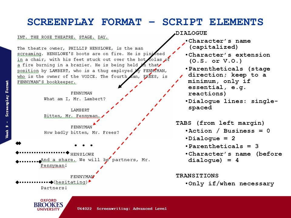 u64022 screenwriting advanced week 2 screenplay standards 1 final