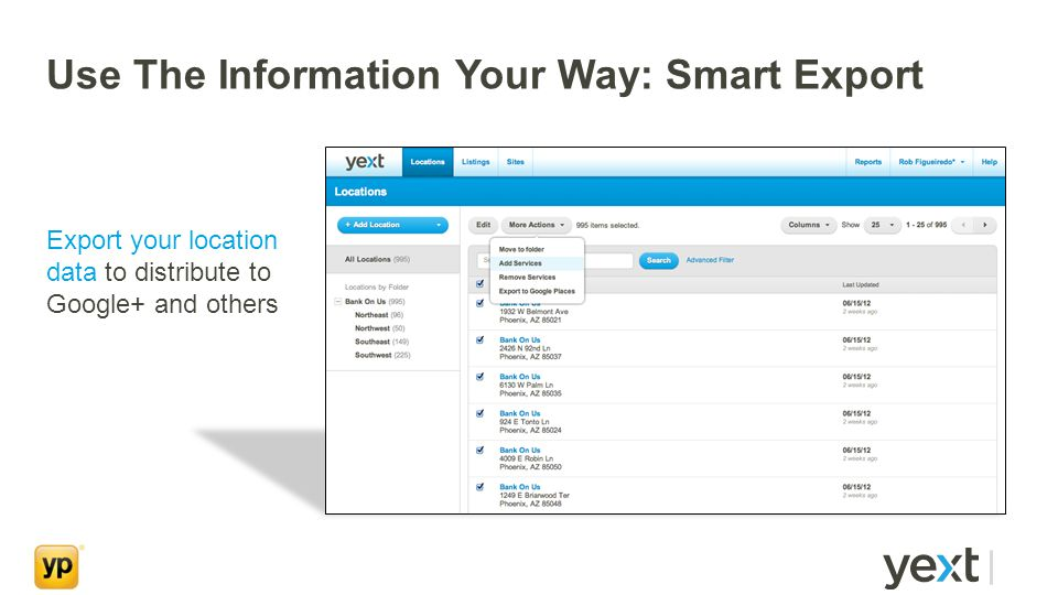 Use The Information Your Way: Smart Export Export your location data to distribute to Google+ and others
