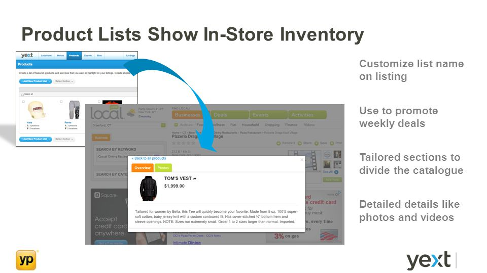 Product Lists Show In-Store Inventory Customize list name on listing Use to promote weekly deals Tailored sections to divide the catalogue Detailed details like photos and videos