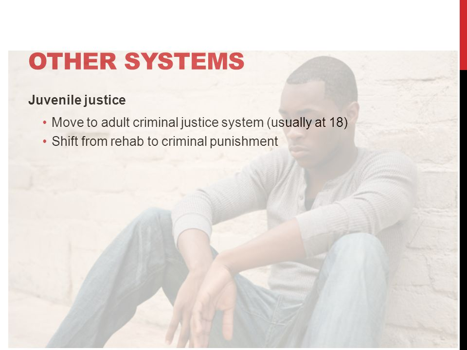 OTHER SYSTEMS Juvenile justice Move to adult criminal justice system (usually at 18) Shift from rehab to criminal punishment