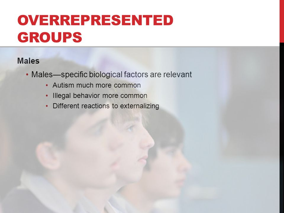 OVERREPRESENTED GROUPS Males Males—specific biological factors are relevant Autism much more common Illegal behavior more common Different reactions to externalizing