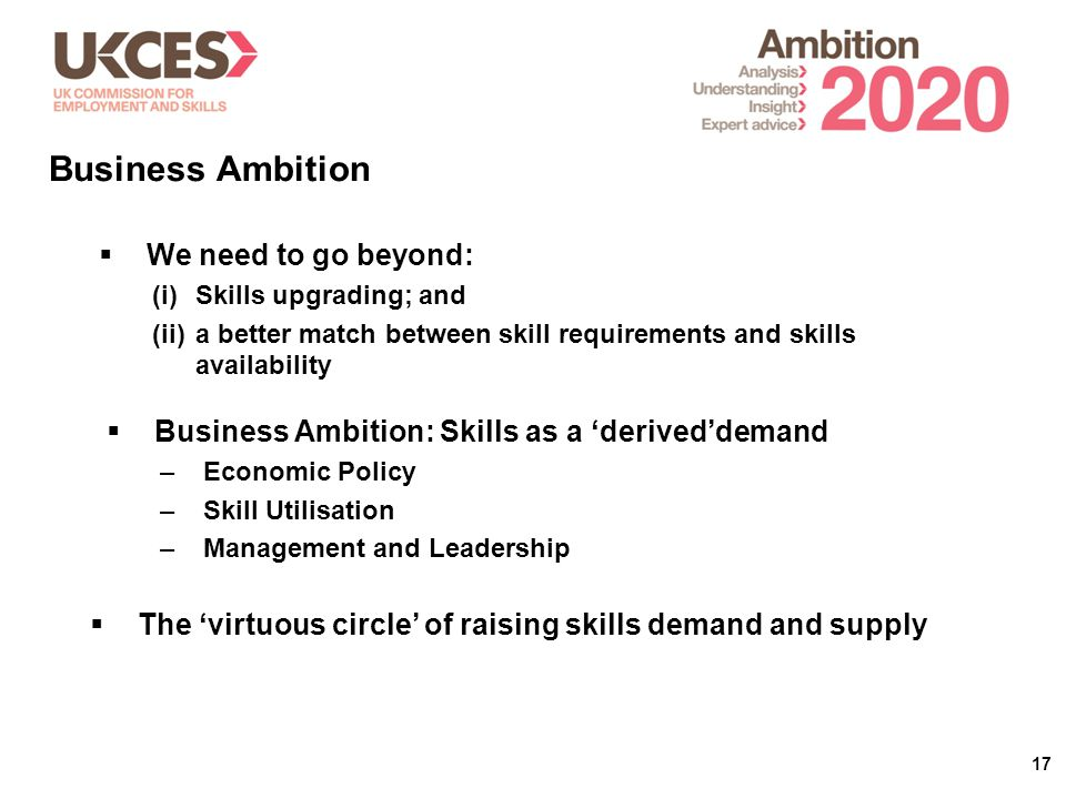 17  We need to go beyond: (i)Skills upgrading; and (ii)a better match between skill requirements and skills availability Business Ambition  The 'virtuous circle' of raising skills demand and supply  Business Ambition: Skills as a 'derived'demand –Economic Policy –Skill Utilisation –Management and Leadership