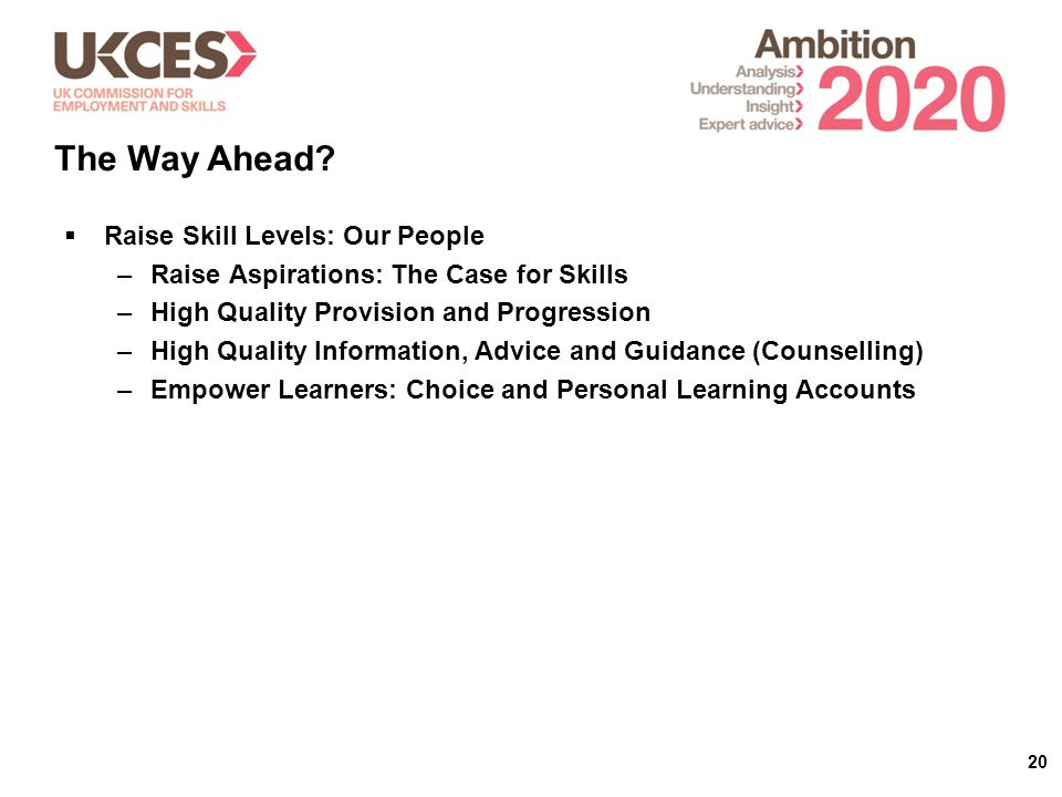 20  Raise Skill Levels: Our People –Raise Aspirations: The Case for Skills –High Quality Provision and Progression –High Quality Information, Advice and Guidance (Counselling) –Empower Learners: Choice and Personal Learning Accounts The Way Ahead