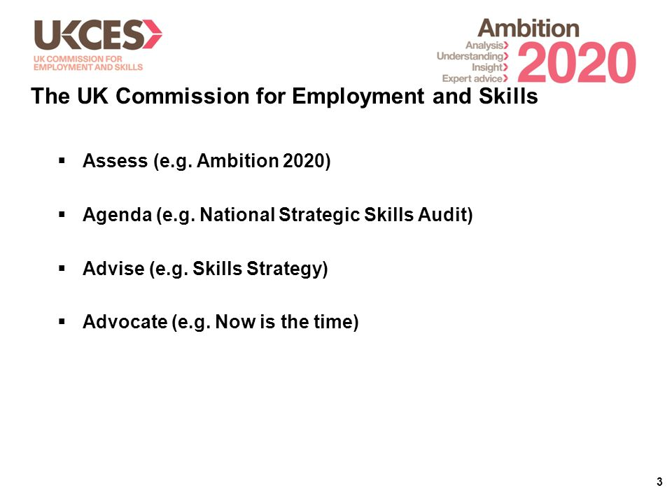 3  Assess (e.g. Ambition 2020)  Agenda (e.g. National Strategic Skills Audit)  Advise (e.g.