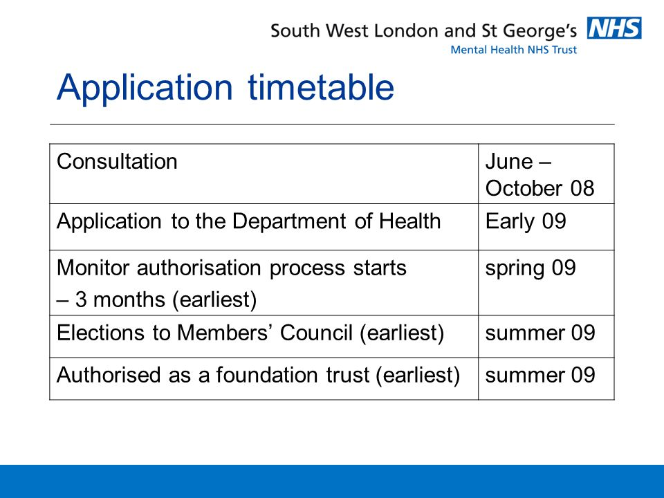 Application timetable ConsultationJune – October 08 Application to the Department of HealthEarly 09 Monitor authorisation process starts – 3 months (earliest) spring 09 Elections to Members' Council (earliest)summer 09 Authorised as a foundation trust (earliest)summer 09