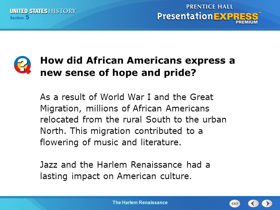 Chapter 25 Section 1 The Cold War Begins The Harlem Renaissance Section 5 How did African Americans express a new sense of hope and pride.