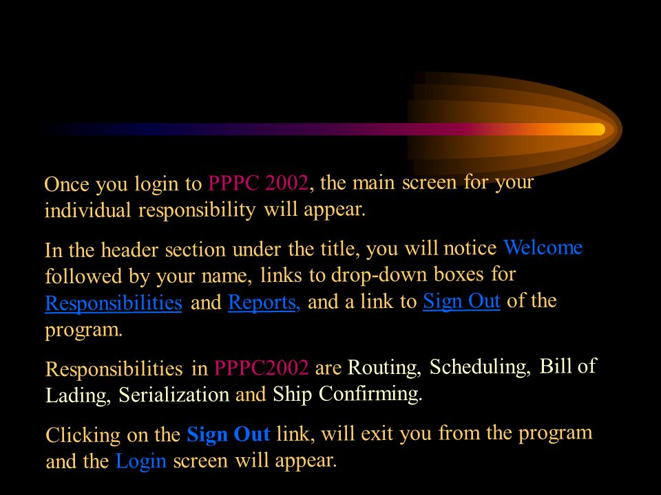 Once you login to PPPC 2002, the main screen for your individual responsibility will appear.