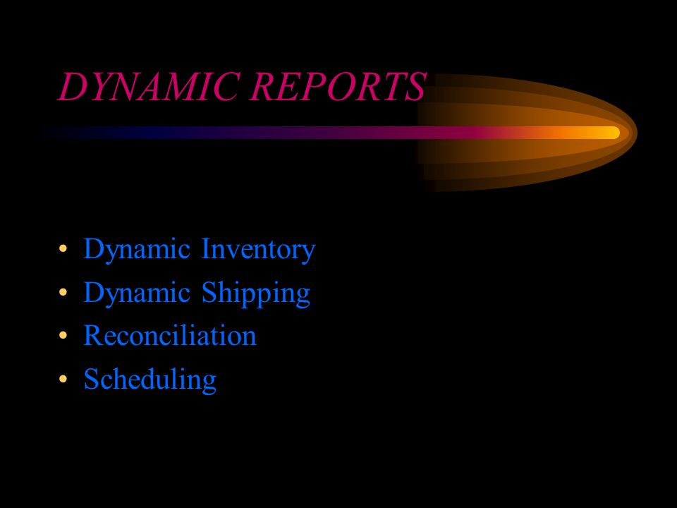DYNAMIC REPORTS Dynamic Inventory Dynamic Shipping Reconciliation Scheduling