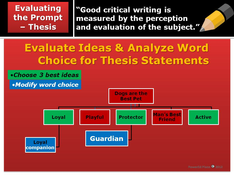 Evaluate Ideas & Analyze Word Choice for Thesis Statements Modify word choice Choose 3 best ideas Dogs are the Best Pet Loyal Loyal companion PlayfulProtector Guardian Man's Best Friend Active Evaluating the Prompt – Thesis Good critical writing is measured by the perception and evaluation of the subject.