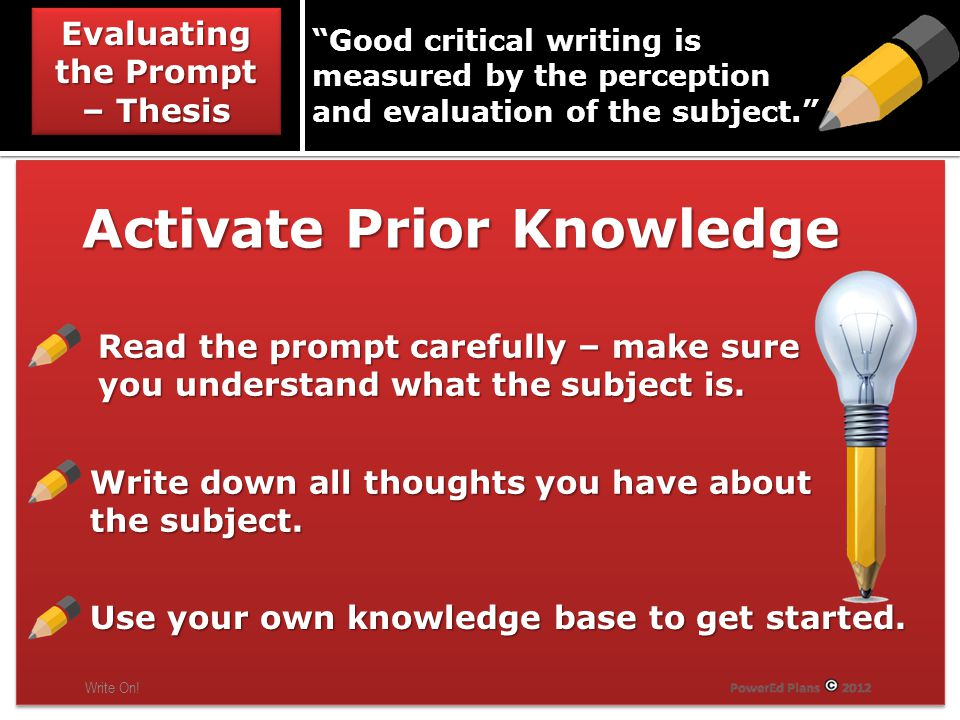 Evaluating the Prompt – Thesis Write On.
