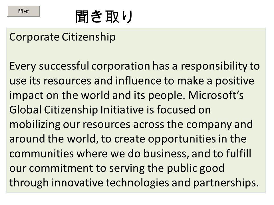 聞き取り Lesson 1 このスライドの英文は microsoft 社の