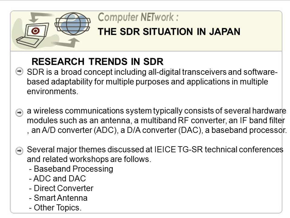 Research and Developments of Software-Defined Radio Technologies in