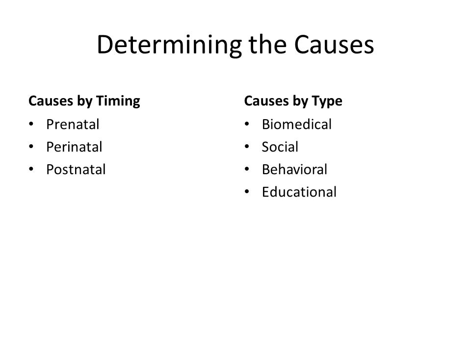 Determining the Causes Causes by Timing Prenatal Perinatal Postnatal Causes by Type Biomedical Social Behavioral Educational