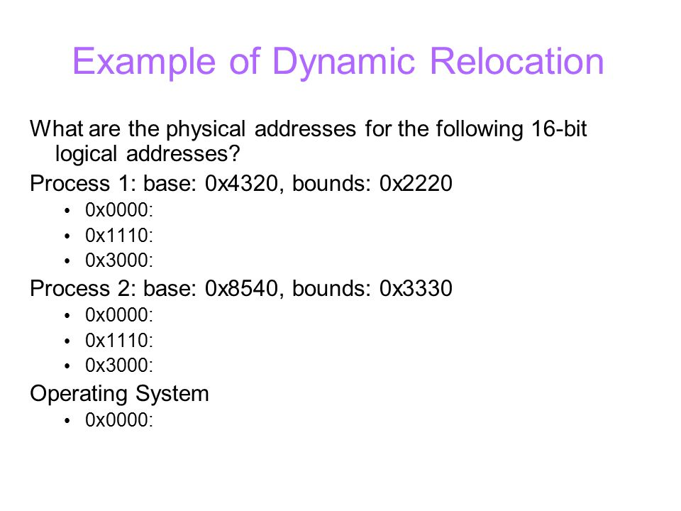 Example of Dynamic Relocation What are the physical addresses for the following 16-bit logical addresses.