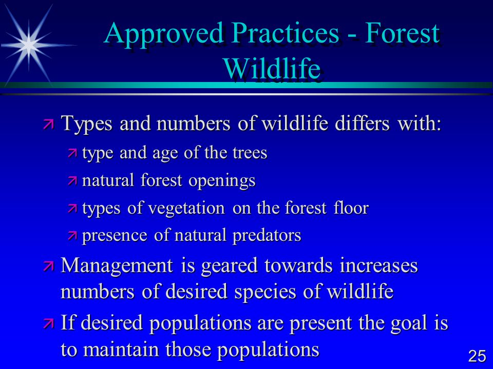 25 Approved Practices - Forest Wildlife  Types and numbers of wildlife differs with:  type and age of the trees  natural forest openings  types of vegetation on the forest floor  presence of natural predators  Management is geared towards increases numbers of desired species of wildlife  If desired populations are present the goal is to maintain those populations