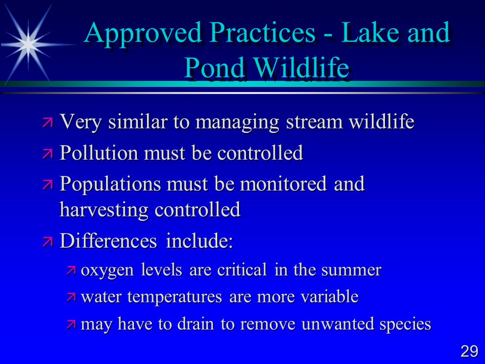 29 Approved Practices - Lake and Pond Wildlife  Very similar to managing stream wildlife  Pollution must be controlled  Populations must be monitored and harvesting controlled  Differences include:  oxygen levels are critical in the summer  water temperatures are more variable  may have to drain to remove unwanted species