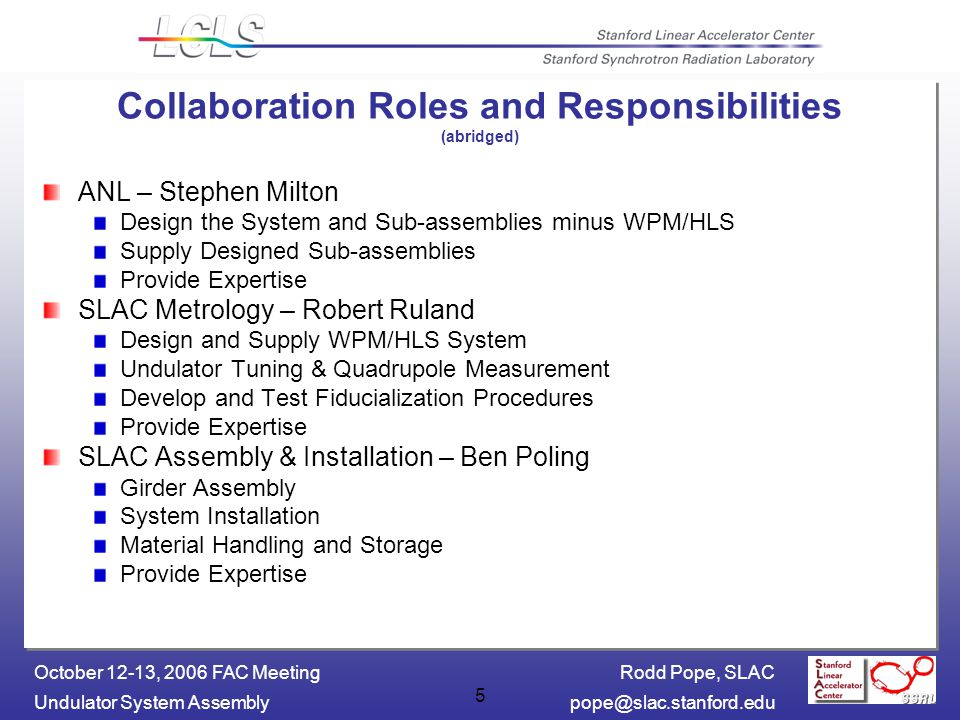 Rodd Pope, SLAC Undulator System October 12-13, 2006 FAC Meeting 5 Collaboration Roles and Responsibilities (abridged) ANL – Stephen Milton Design the System and Sub-assemblies minus WPM/HLS Supply Designed Sub-assemblies Provide Expertise SLAC Metrology – Robert Ruland Design and Supply WPM/HLS System Undulator Tuning & Quadrupole Measurement Develop and Test Fiducialization Procedures Provide Expertise SLAC Assembly & Installation – Ben Poling Girder Assembly System Installation Material Handling and Storage Provide Expertise