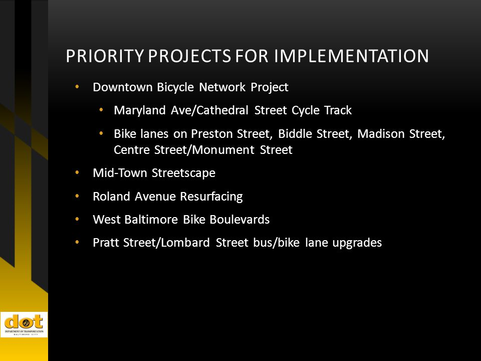 PRIORITY PROJECTS FOR IMPLEMENTATION Downtown Bicycle Network Project Maryland Ave/Cathedral Street Cycle Track Bike lanes on Preston Street, Biddle Street, Madison Street, Centre Street/Monument Street Mid-Town Streetscape Roland Avenue Resurfacing West Baltimore Bike Boulevards Pratt Street/Lombard Street bus/bike lane upgrades