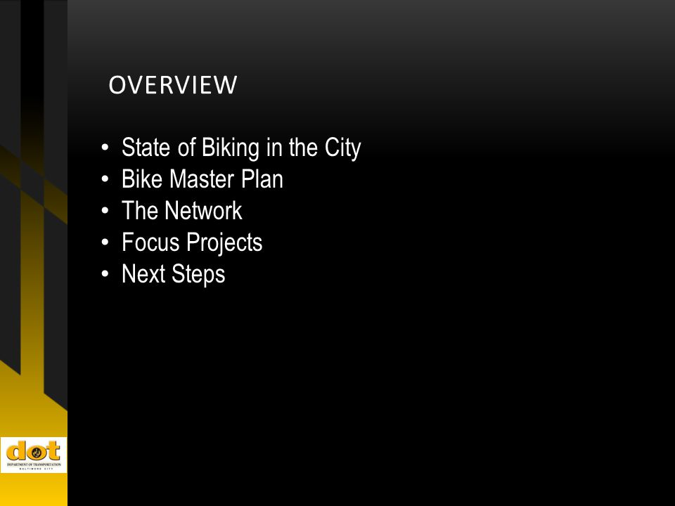 OVERVIEW State of Biking in the City Bike Master Plan The Network Focus Projects Next Steps