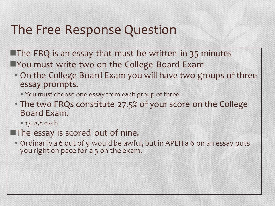 Comparative Essay Thesis Statement The Free Response Question The Frq Is An Essay That Must Be Written In   Minutes Federalism Essay Paper also Essays For High School Students The Ap European History Free Response Question The Free Response  How To Write An Essay For High School Students