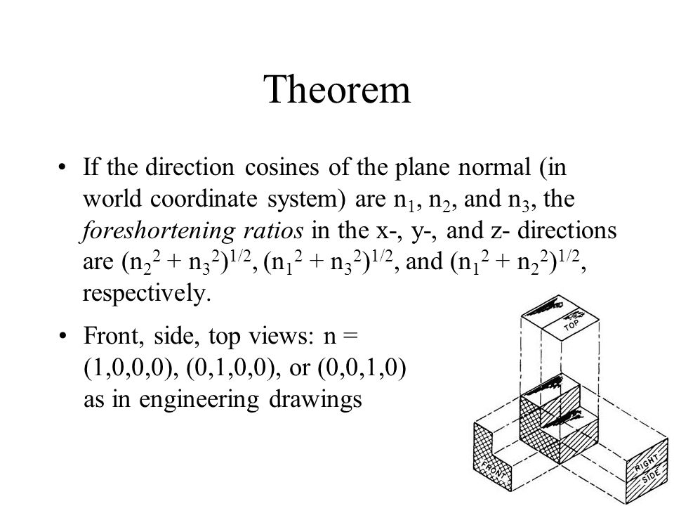 16 Theorem If the direction cosines of the plane normal (in world coordinate system) are n 1, n 2, and n 3, the foreshortening ratios in the x-, y-, and z- directions are (n n 3 2 ) 1/2, (n n 3 2 ) 1/2, and (n n 2 2 ) 1/2, respectively.
